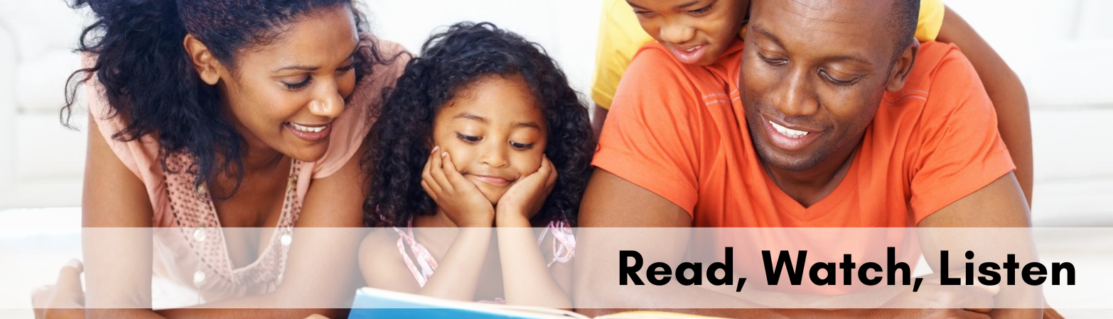 Family Reading together with text Read, Watch, Listen