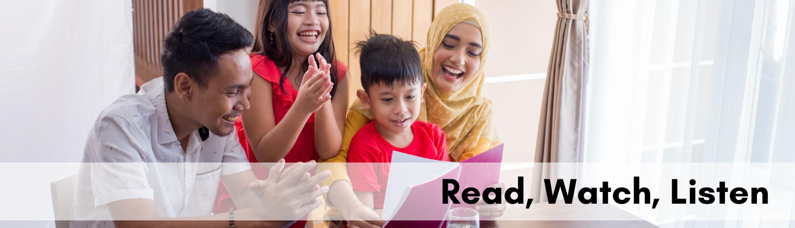 "Photo of Muslim family reading together with text ""Read, Watch, Listen"""