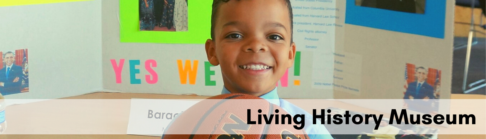 Boy dressed as Barack Obama holding basketball with text Living hIstory museum