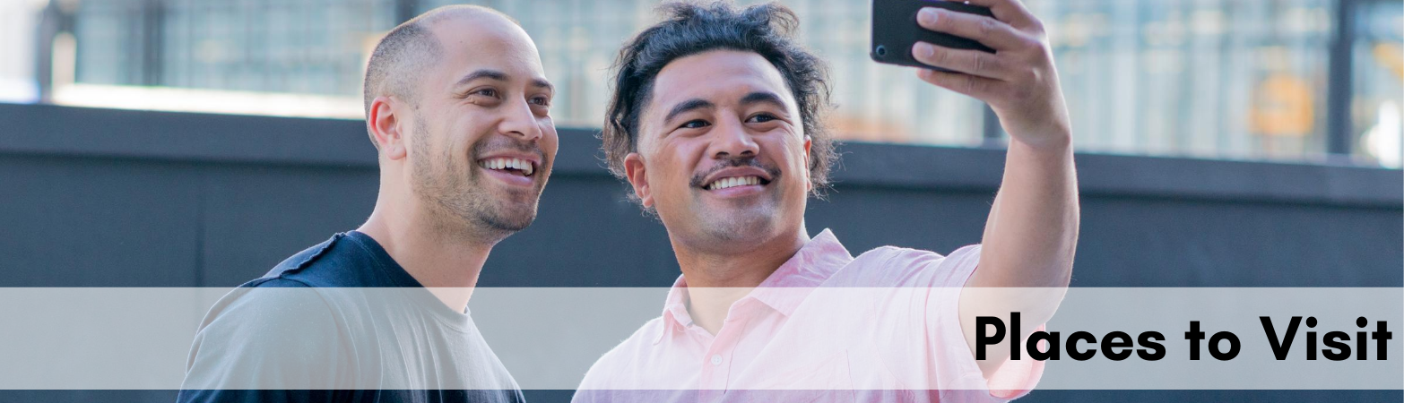 "two polynesian men smiling for the camera with text ""places to visit"""